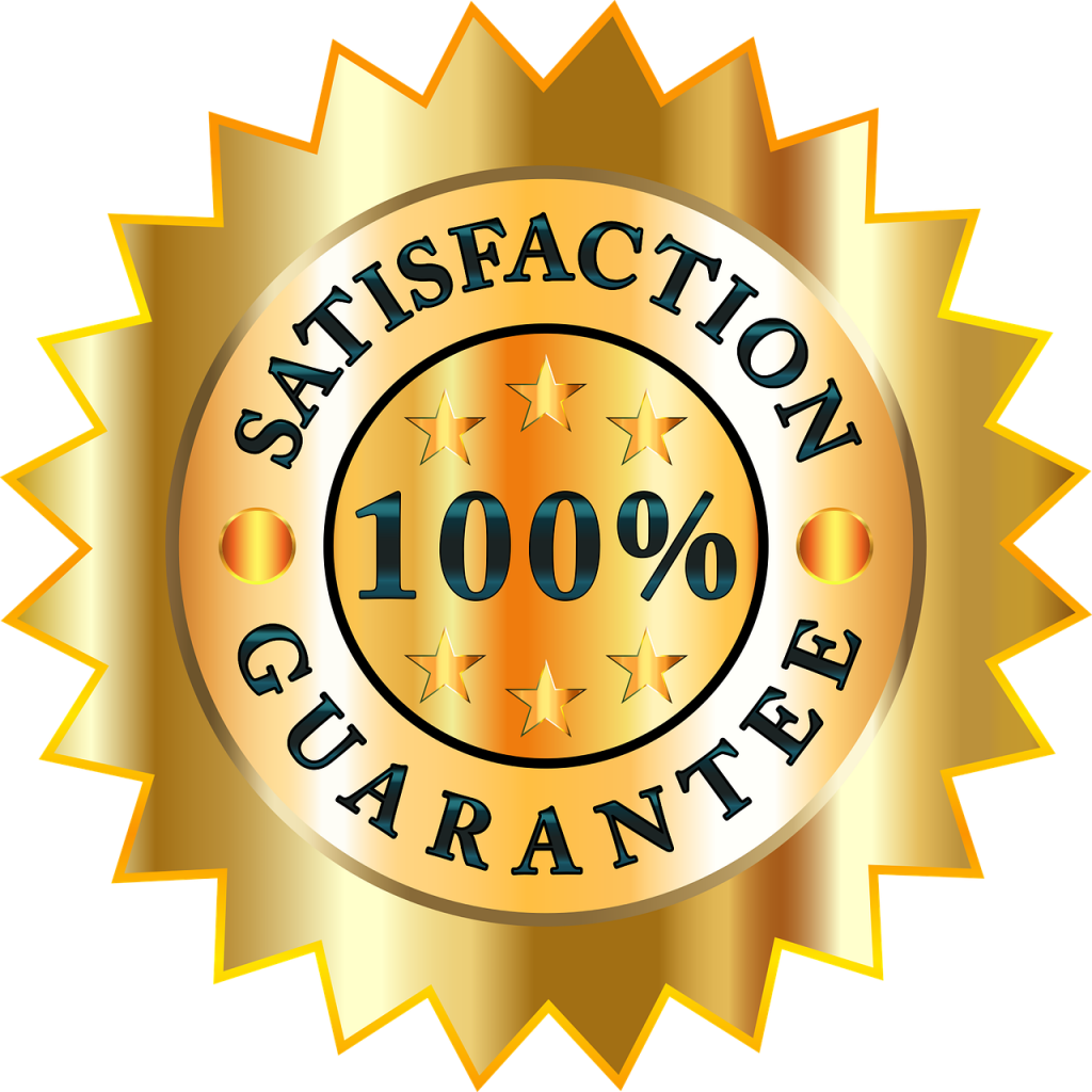 100%満足保証(100% satisfaction guarantee)