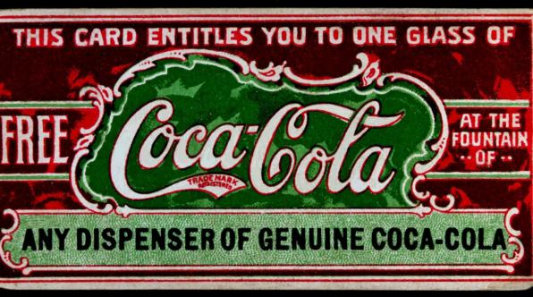 1887年 コカ・コーラのクーポン(this card entitled you to one glass of free coca-cola)